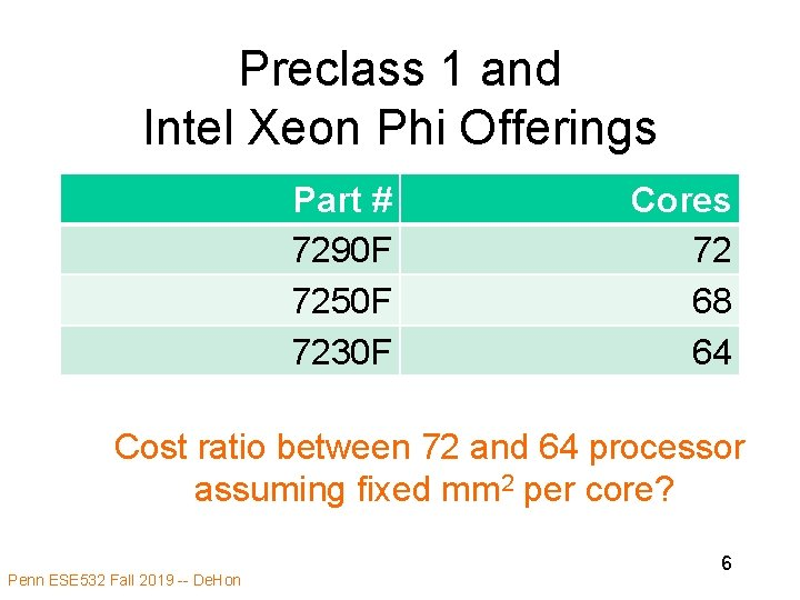Preclass 1 and Intel Xeon Phi Offerings Part # 7290 F 7250 F 7230