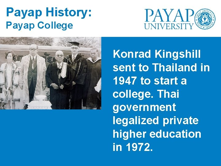 Payap History: Payap College Konrad Kingshill sent to Thailand in 1947 to start a