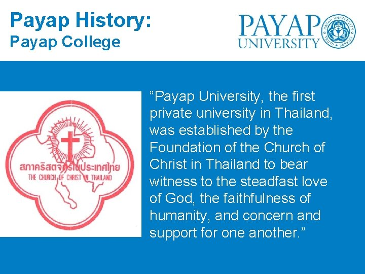 "Payap History: Payap College ""Payap University, the first private university in Thailand, was established"