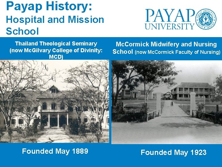 Payap History: Hospital and Mission School Thailand Theological Seminary (now Mc. Gilvary College of