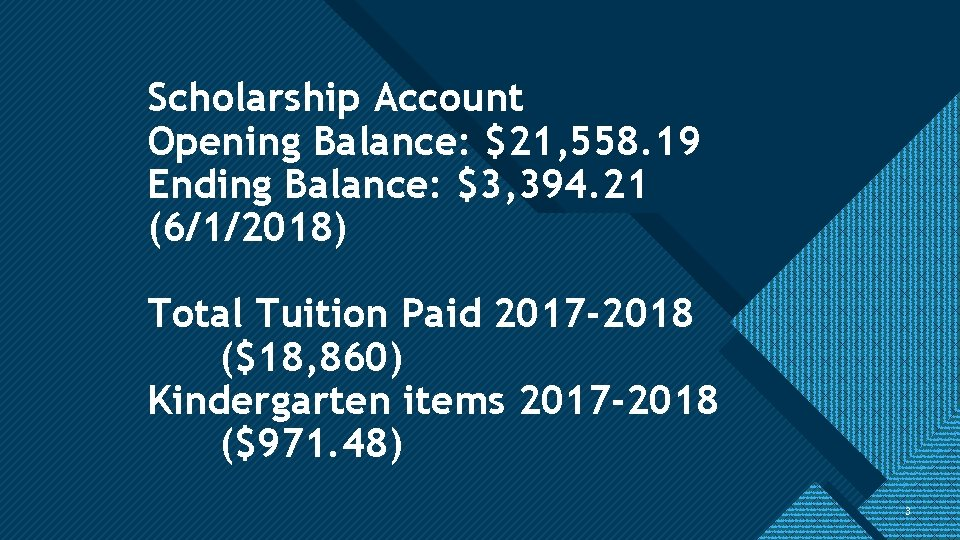 Click to edit Master title style Scholarship Account Opening Balance: $21, 558. 19 Ending