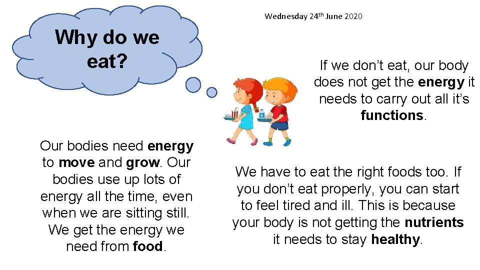 Wednesday 24 th June 2020 Why do we eat? Our bodies need energy to