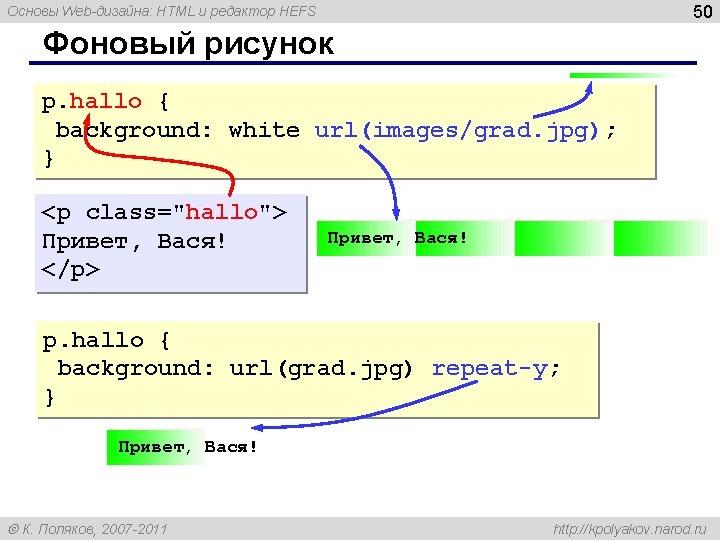 50 Основы Web-дизайна: HTML и редактор HEFS Фоновый рисунок p. hallo { background: white
