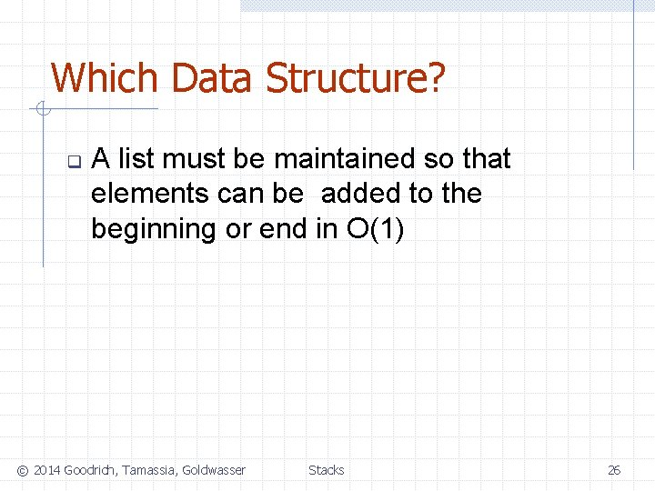 Which Data Structure? q A list must be maintained so that elements can be