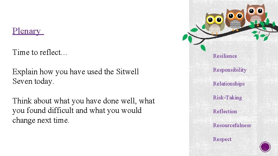 Plenary Time to reflect… Resilience Explain how you have used the Sitwell Seven today.