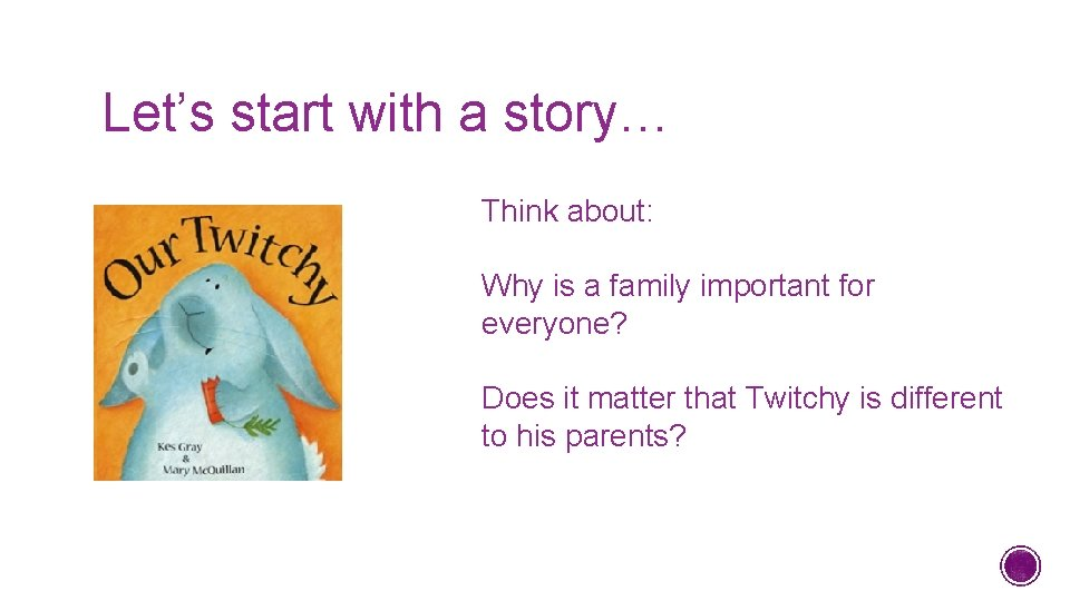 Let's start with a story… Think about: Why is a family important for everyone?