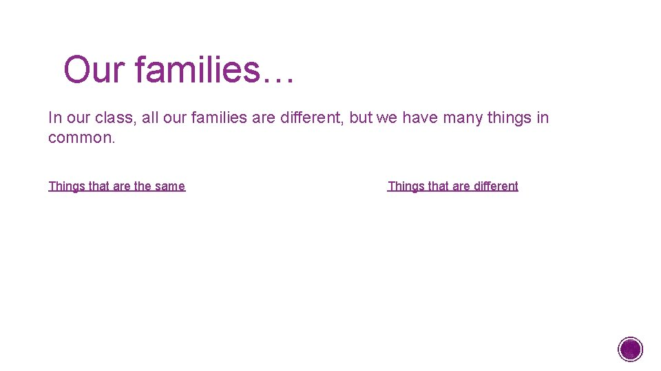 Our families… In our class, all our families are different, but we have many