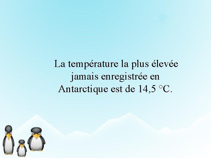 La température la plus élevée jamais enregistrée en Antarctique est de 14, 5