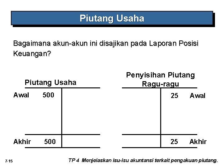 Piutang Usaha Bagaimana akun-akun ini disajikan pada Laporan Posisi Keuangan? Piutang Usaha 7 -15