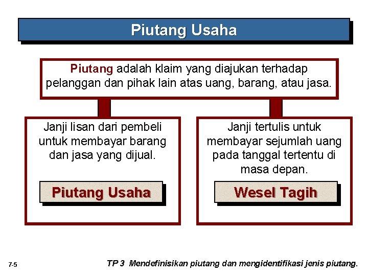 Piutang Usaha Piutang adalah klaim yang diajukan terhadap pelanggan dan pihak lain atas uang,