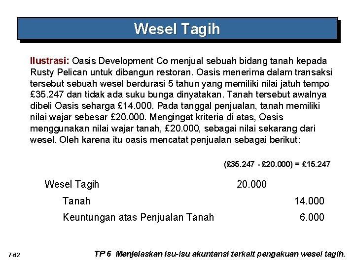 Wesel Tagih Ilustrasi: Oasis Development Co menjual sebuah bidang tanah kepada Rusty Pelican untuk