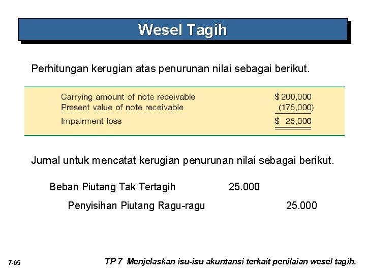 Wesel Tagih Perhitungan kerugian atas penurunan nilai sebagai berikut. Jurnal untuk mencatat kerugian penurunan