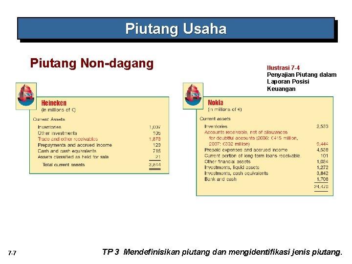 Piutang Usaha Piutang Non-dagang 7 -7 Ilustrasi 7 -4 Penyajian Piutang dalam Laporan Posisi