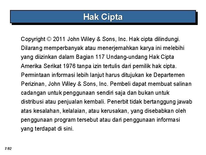 Hak Cipta Copyright © 2011 John Wiley & Sons, Inc. Hak cipta dilindungi. Dilarang