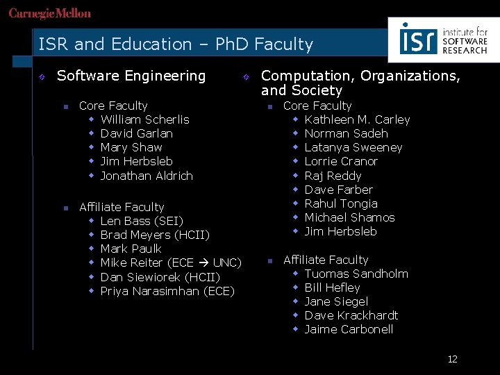 ISR and Education – Ph. D Faculty Software Engineering n n Core Faculty w