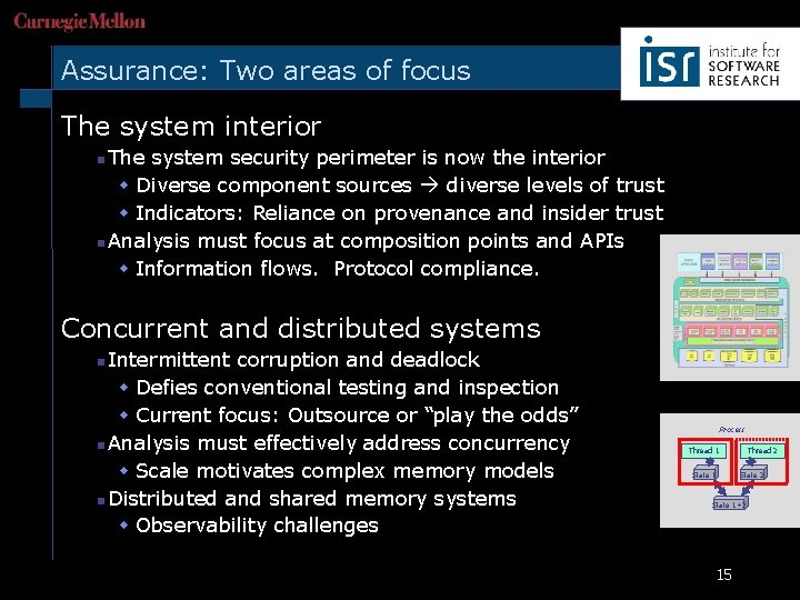 Assurance: Two areas of focus The system interior n The system security perimeter is