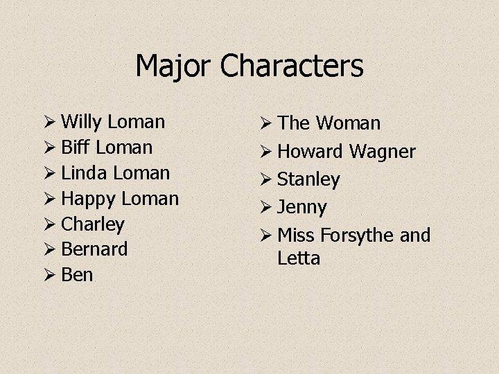 Major Characters Ø Willy Loman Ø Biff Loman Ø Linda Loman Ø Happy Loman