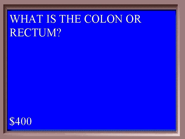WHAT IS THE COLON OR RECTUM? 1 - 100 1 -400 A $400
