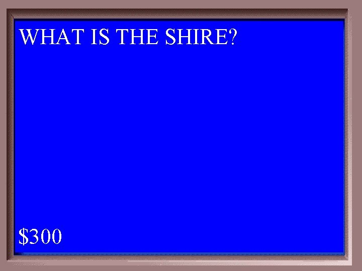 WHAT IS THE SHIRE? 1 - 100 2 -300 A $300