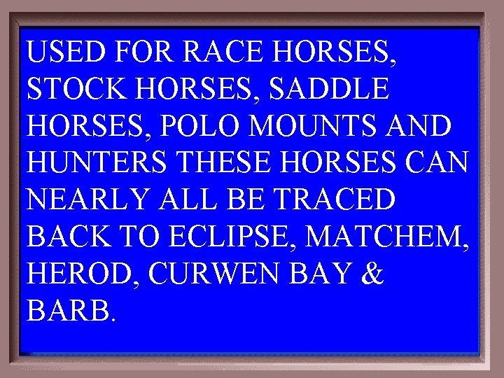 USED FOR RACE HORSES, STOCK HORSES, SADDLE HORSES, POLO MOUNTS AND HUNTERS THESE HORSES