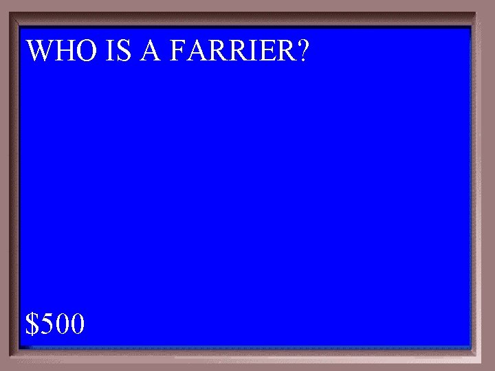 WHO IS A FARRIER? 1 - 100 3 -500 A $500