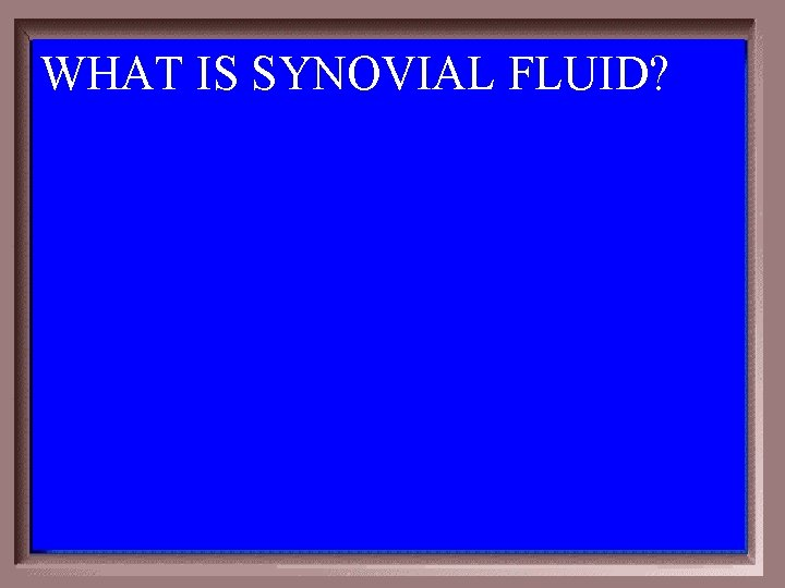 WHAT IS SYNOVIAL FLUID?