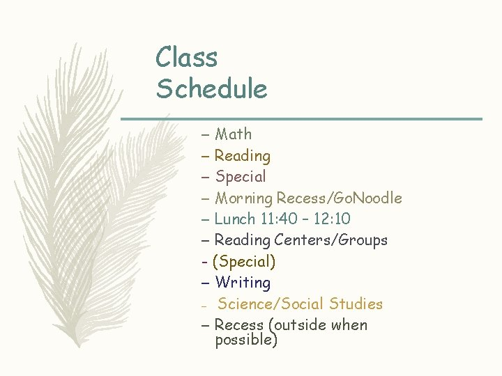 Class Schedule – Math – Reading – Special – Morning Recess/Go. Noodle – Lunch
