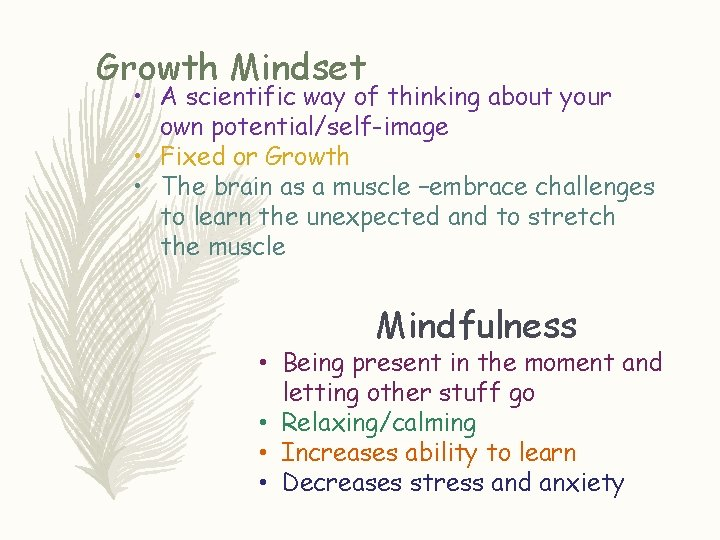 Growth Mindset • A scientific way of thinking about your own potential/self-image • Fixed