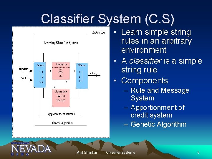 Classifier System (C. S) • Learn simple string rules in an arbitrary environment •