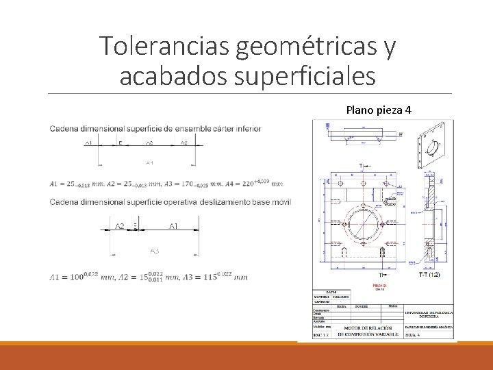 Tolerancias geométricas y acabados superficiales Plano pieza 4