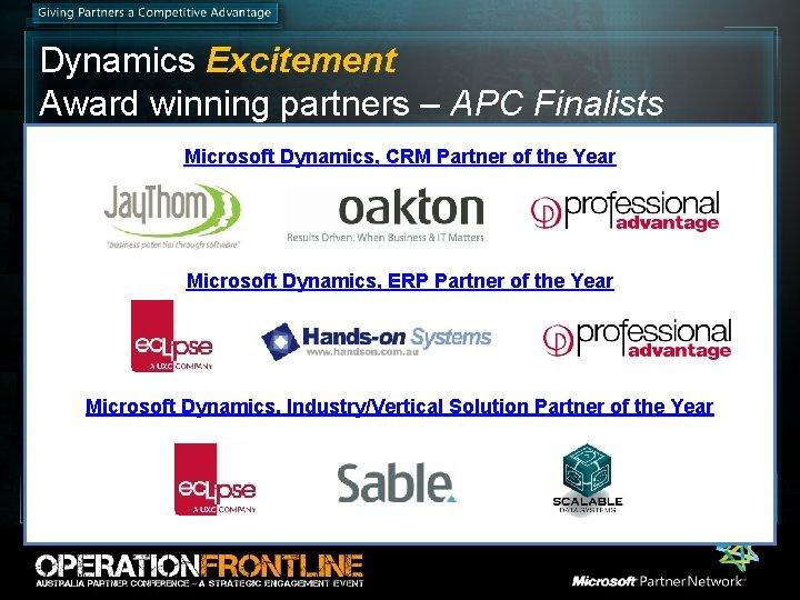 Dynamics Excitement Award winning partners – APC Finalists Microsoft Dynamics, CRM Partner of the