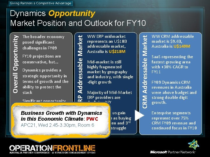 FY 10 projections are conservative, but… Dynamics provides a strategic opportunity in terms of