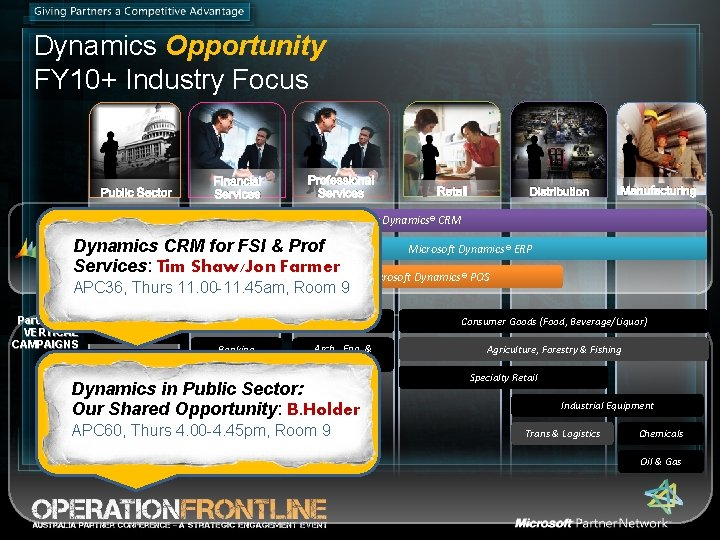 Dynamics Opportunity FY 10+ Industry Focus Public Sector Financial Services Professional Services Retail Distribution