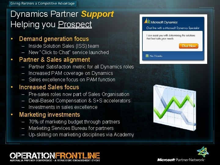 Dynamics Partner Support Helping you Prospect • Demand generation focus – Inside Solution Sales