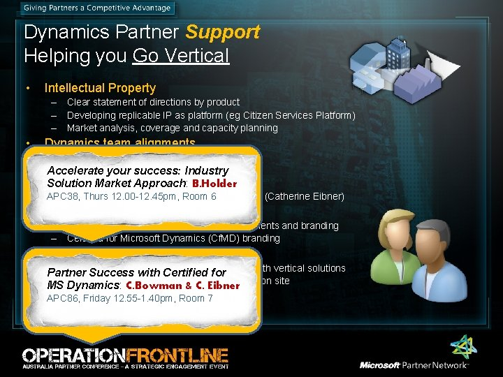 Dynamics Partner Support Helping you Go Vertical • Intellectual Property – Clear statement of