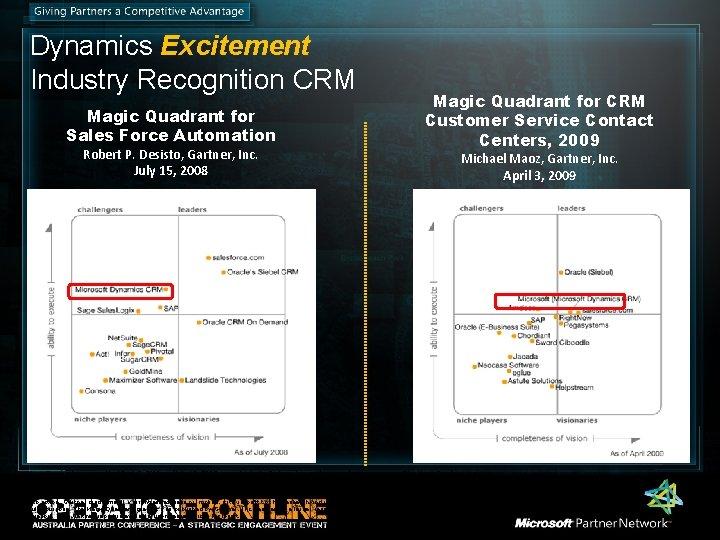 Dynamics Excitement Industry Recognition CRM Magic Quadrant for Sales Force Automation Robert P. Desisto,