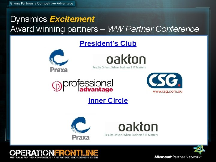 Dynamics Excitement Award winning partners – WW Partner Conference President's Club Inner Circle Special