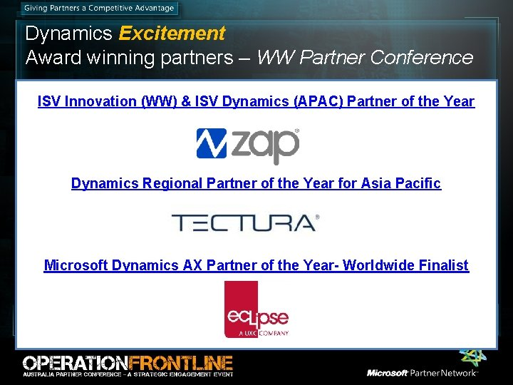 Dynamics Excitement Award winning partners – WW Partner Conference ISV Innovation (WW) & ISV