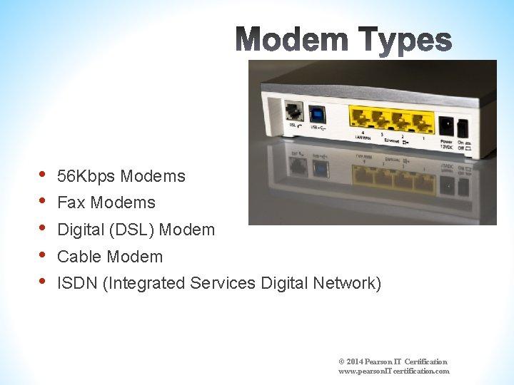 • • • 56 Kbps Modems Fax Modems Digital (DSL) Modem Cable Modem