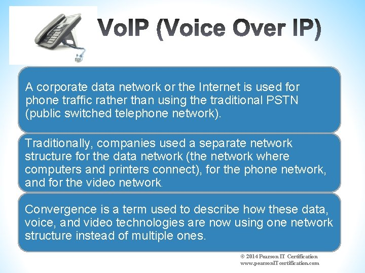 A corporate data network or the Internet is used for phone traffic rather than
