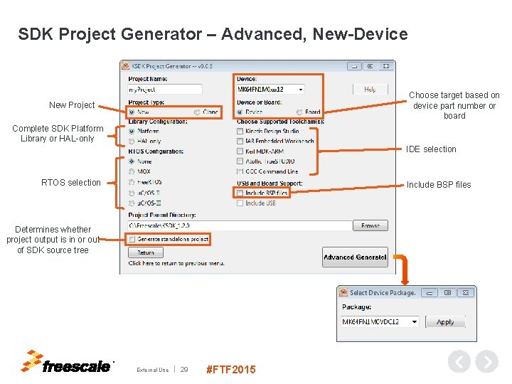 SDK Project Generator – Advanced, New-Device Choose target based on device part number or