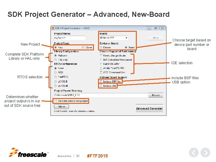 SDK Project Generator – Advanced, New-Board Choose target based on device part number or
