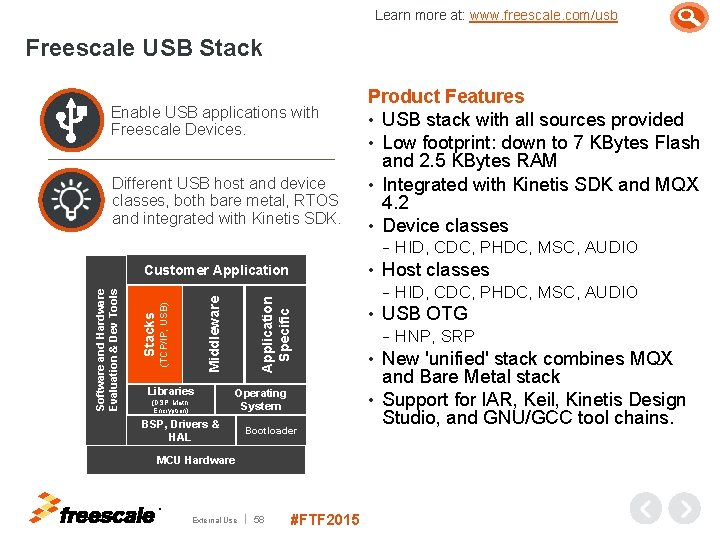 Learn more at: www. freescale. com/usb Freescale USB Stack Enable USB applications with Freescale