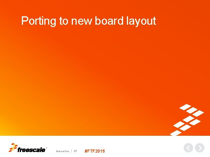 Porting to new board layout TM External Use 87 #FTF 2015