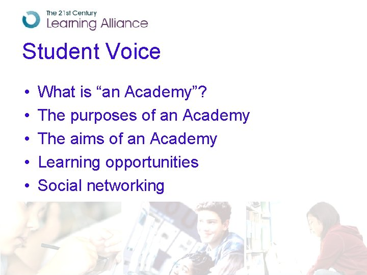 """Student Voice • • • What is """"an Academy""""? The purposes of an Academy"""