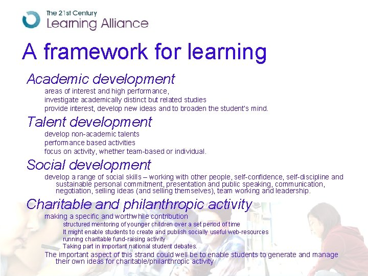 A framework for learning Academic development areas of interest and high performance, investigate academically