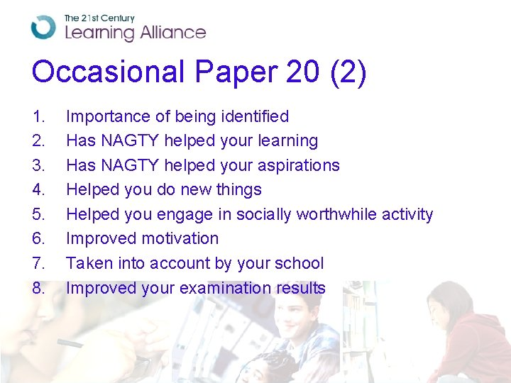 Occasional Paper 20 (2) 1. 2. 3. 4. 5. 6. 7. 8. Importance of