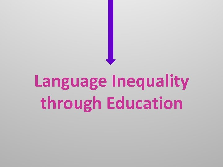 Language Inequality through Education