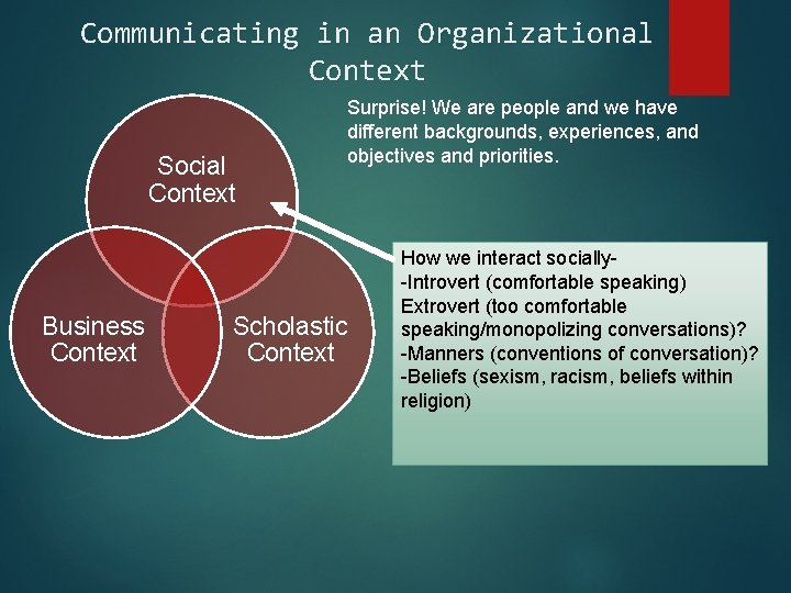 Communicating in an Organizational Context Social Context Business Context Surprise! We are people and