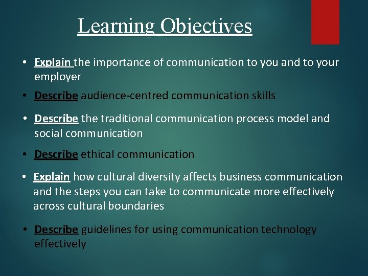 Learning Objectives • Explain the importance of communication to you and to your employer